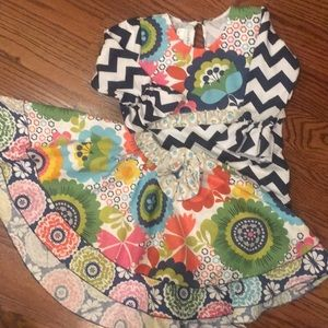 Owl's & Bat's Boutique Skirt Set Chevron Ruffle